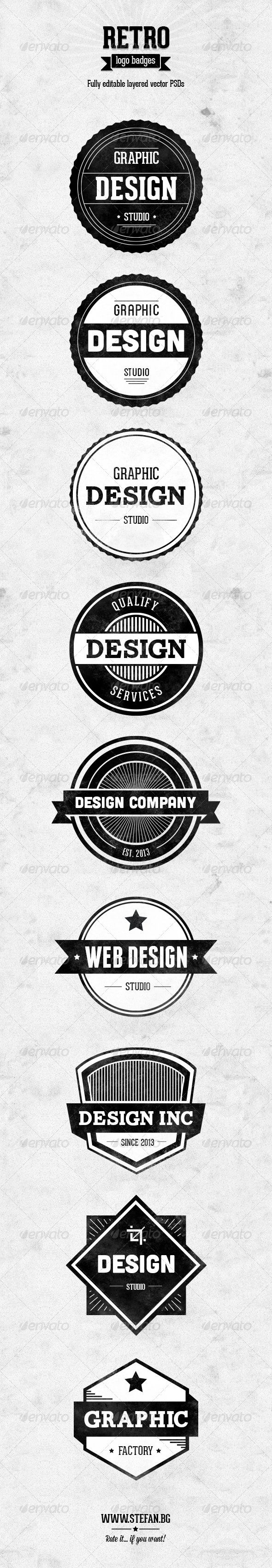 Retro Logo Badges - Badges & Stickers Web Elements