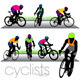 Cyclists and Bikers Silhouettes Set - GraphicRiver Item for Sale