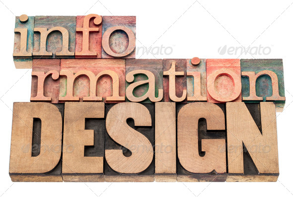 information design in wood type - Stock Photo - Images