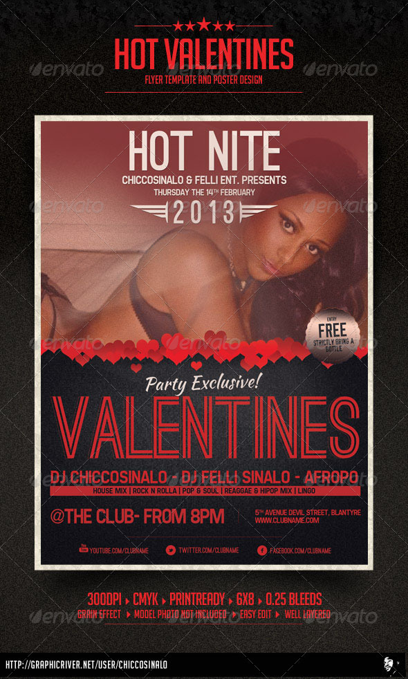 Hot Valentines Flyer Template - Clubs & Parties Events