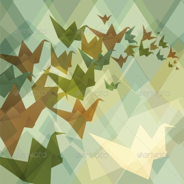 GraphicRiver Origami Birds Background 3849827