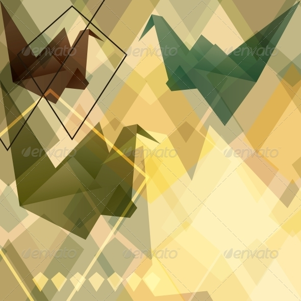 GraphicRiver Origami Birds Background 3849828