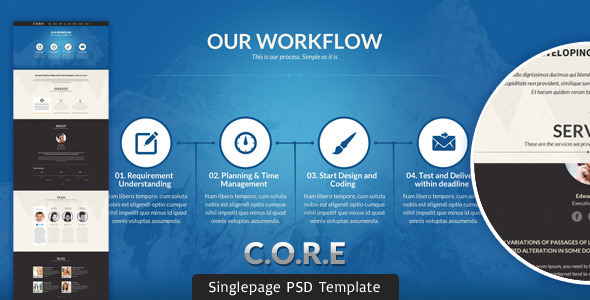 ThemeForest CORE Multipurpose Single Page PSD Template 3838662