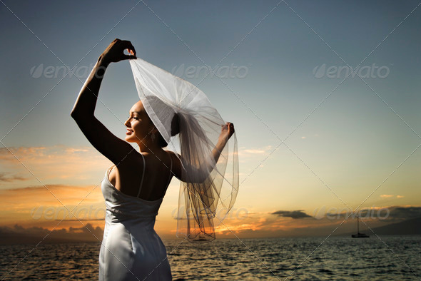 PhotoDune Bride holding out veil on beach 415016