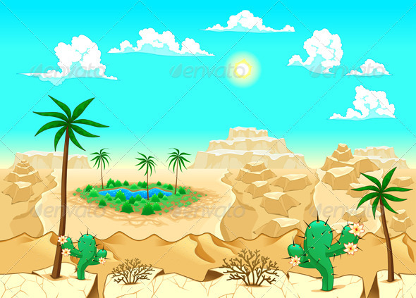 GraphicRiver Desert with Oasis 3850566