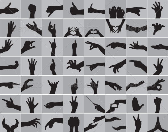 GraphicRiver Hands Silhouettes 3850807