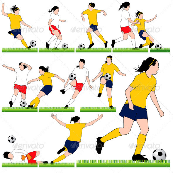 GraphicRiver 12 Female Soccer Silhouettes Set 3851547