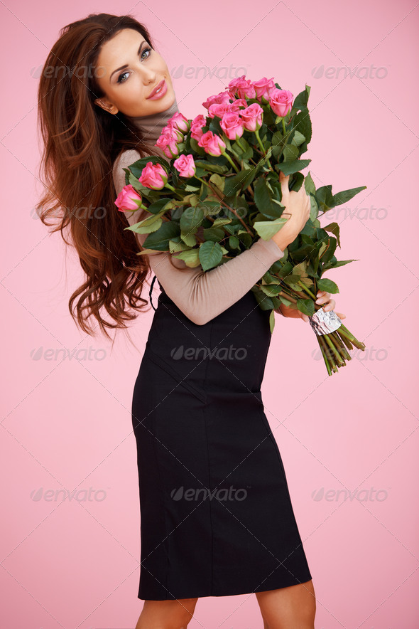 Sexy woman with Valentine roses - Stock Photo - Images