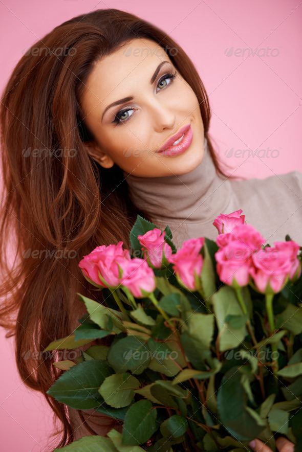 Romantic woman with pink roses - Stock Photo - Images