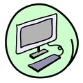 The Computer Workstation on Round Green Background
