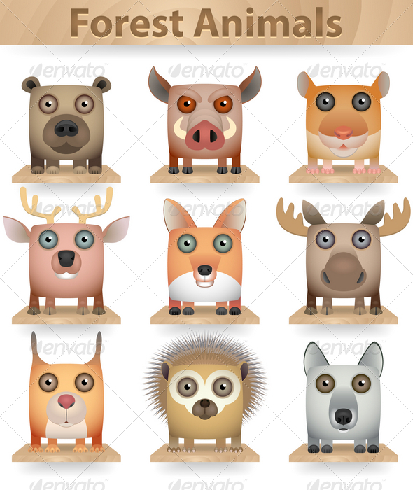 GraphicRiver Forest Animals 3852156