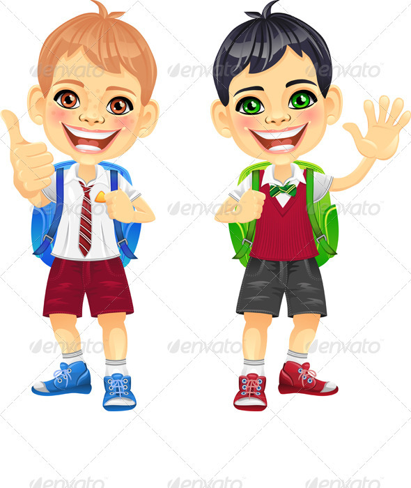 Vector Happy Smiling Schoolchildren Boys - People Characters