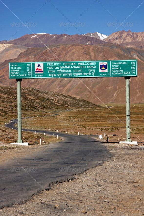 PhotoDune Road Sign On Manali To Leh Highway 3854141