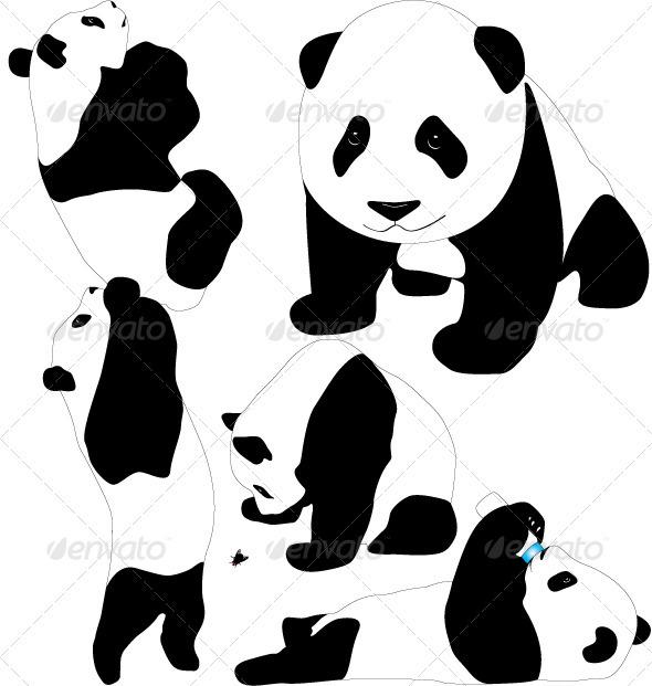 GraphicRiver Panda Vector Silhouettes 3853815