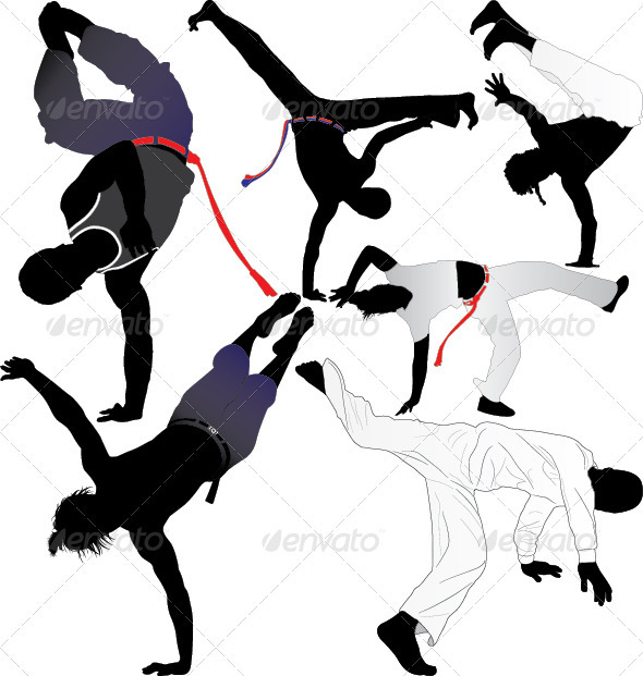 GraphicRiver Capoeira Fighter Vector Silhouettes 3853880