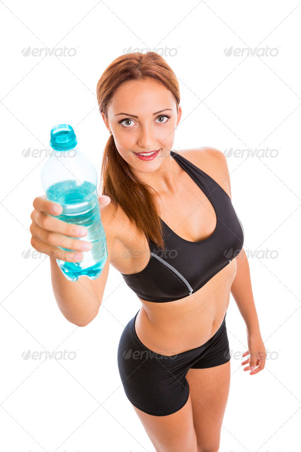 PhotoDune Beautiful Smiling Fitness Woman Holding Plastic Water Bottle 3854110