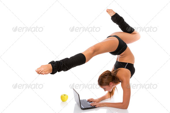 PhotoDune Flexible Gymnast with Laptop and Apple 3854145