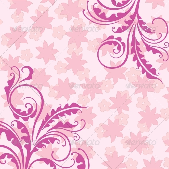 GraphicRiver Decorative Pink Floral Background 3854366