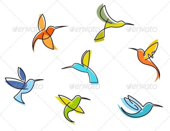 GraphicRiver Abstract Colorful Hummingbirds 3854701