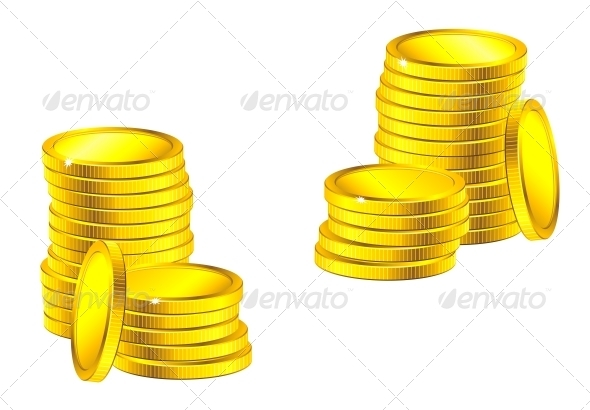 GraphicRiver Columns of Golden Coins 3854713