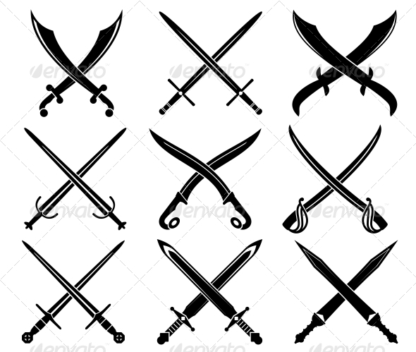 GraphicRiver Set of Heraldic Swords and Sabers 3854861
