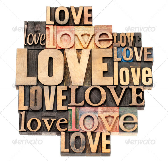 love word in wood type - Stock Photo - Images