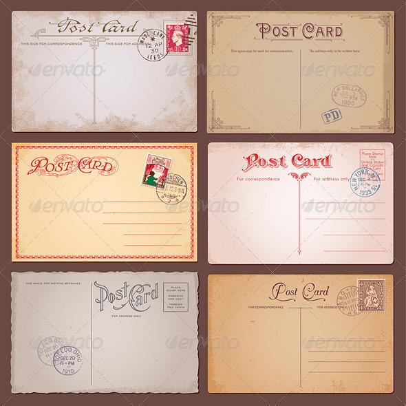 GraphicRiver Vector Vintage Postcards 3855701
