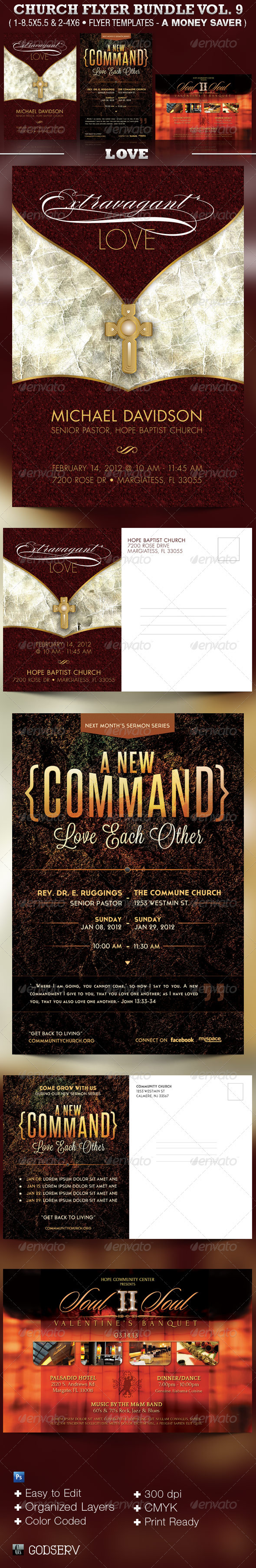 Church Flyer Template Bundle Vol 9 - Love - Church Flyers