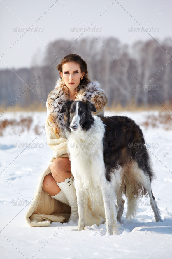 PhotoDune woman with borzoi outdoors 3883305