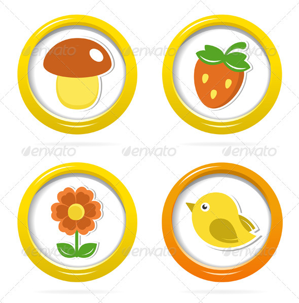 GraphicRiver Summer Icons In Colorful Bubbles 3856064