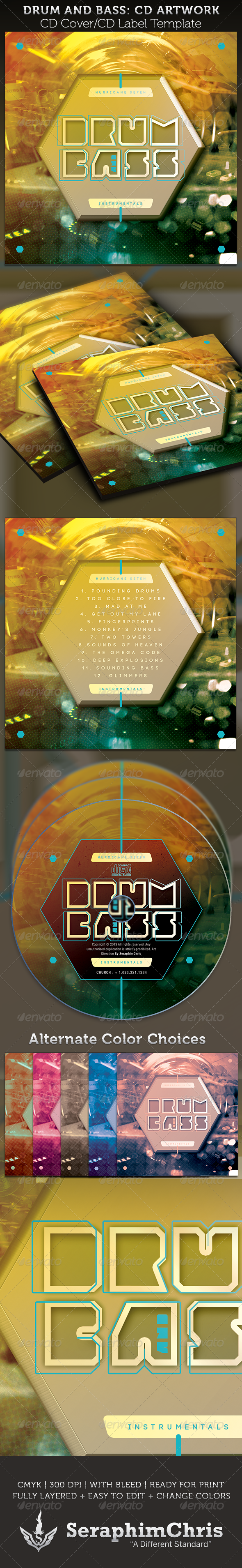 Drum and Bass CD Cover Artwork Template - CD & DVD artwork Print Templates