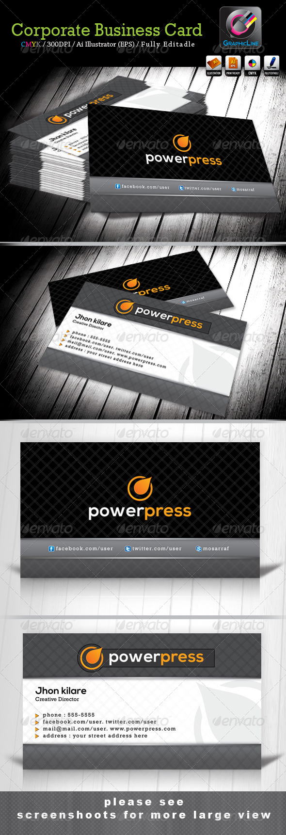 GraphicRiver Power Press Creative Business Card 3769122