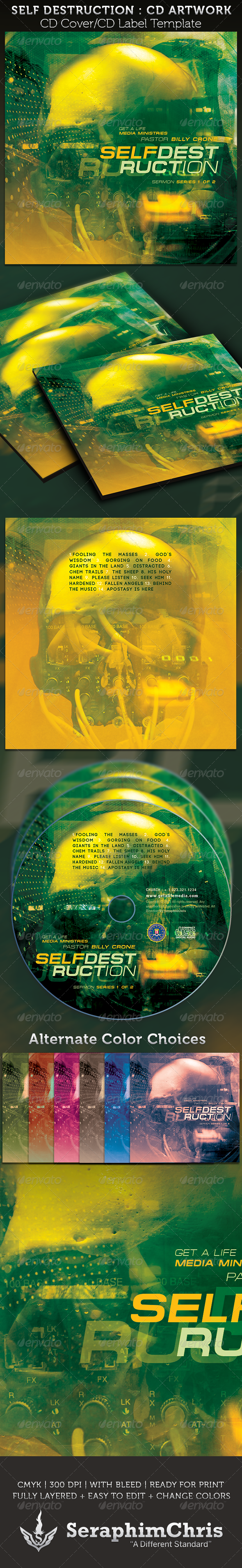 GraphicRiver Self Destruction CD Cover Artwork Template 3856941