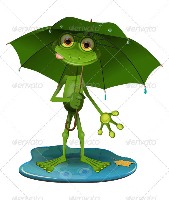 GraphicRiver Frog with a green umbrella 3859549