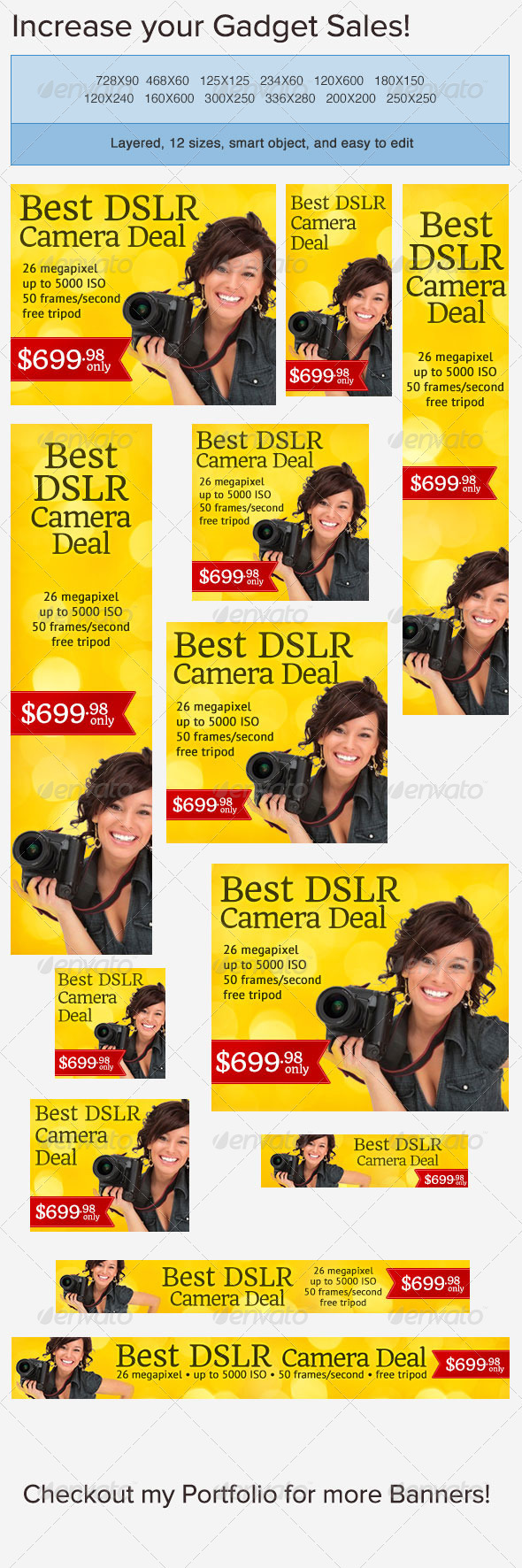 Digital Camera Banner Ad Template - Banners & Ads Web Elements