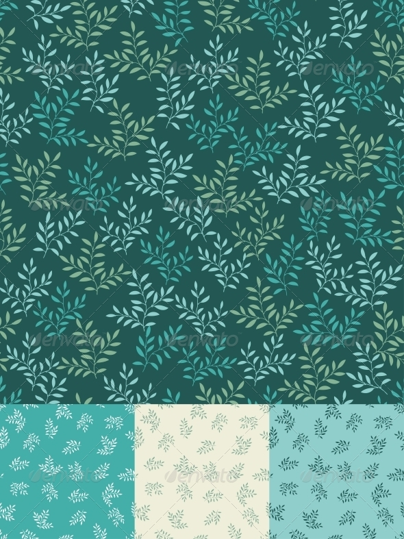 GraphicRiver Seamless patterns with leaves 3860951