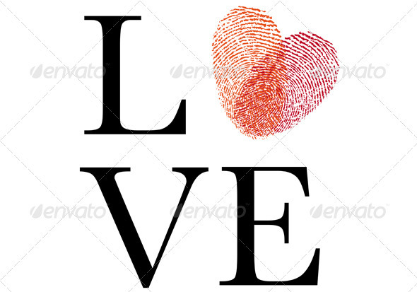 GraphicRiver Love With Red Fingerprint Heart Vector 3861008
