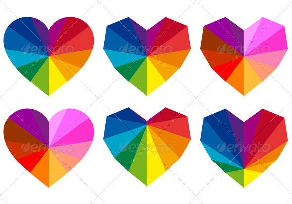GraphicRiver Colorful Geometric Hearts Vector Set 3861010