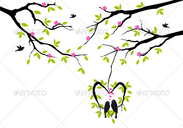 GraphicRiver Birds On Tree In Heart Nest Vector 3861026