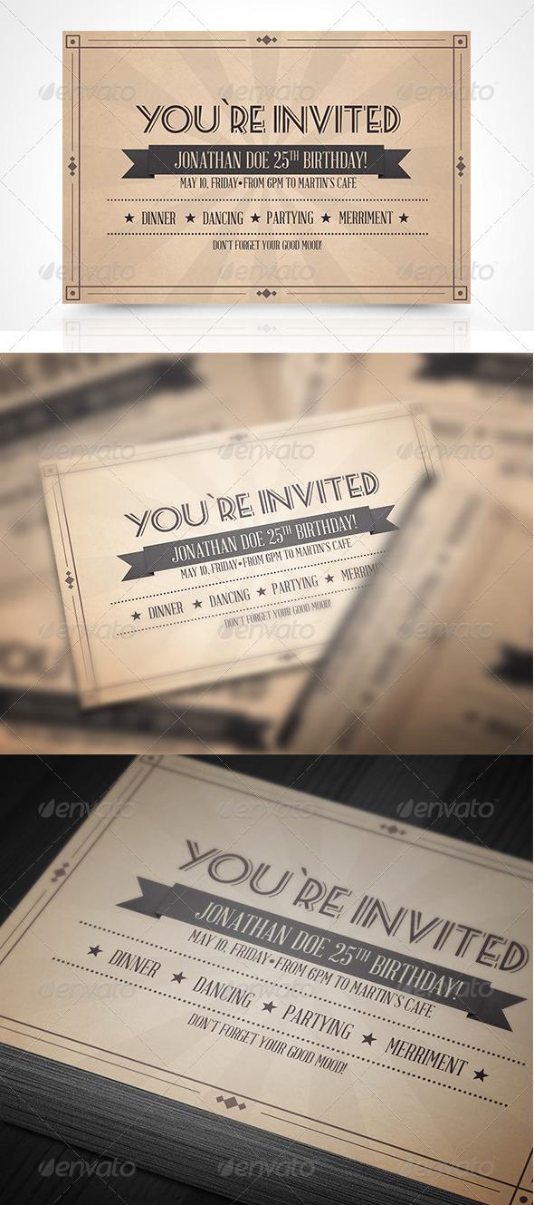GraphicRiver Vinatge Invitation Postcard 3781850