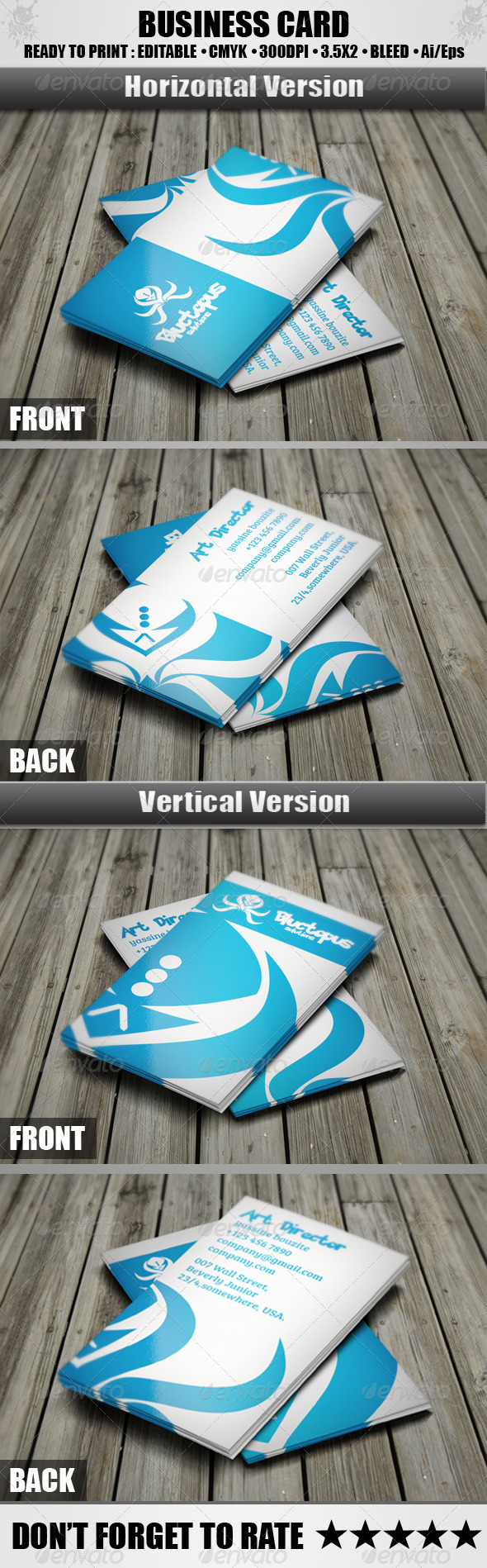 GraphicRiver Bluctopus Business Card 3861766