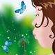 Download Vector Girl Blowing on Dandelion