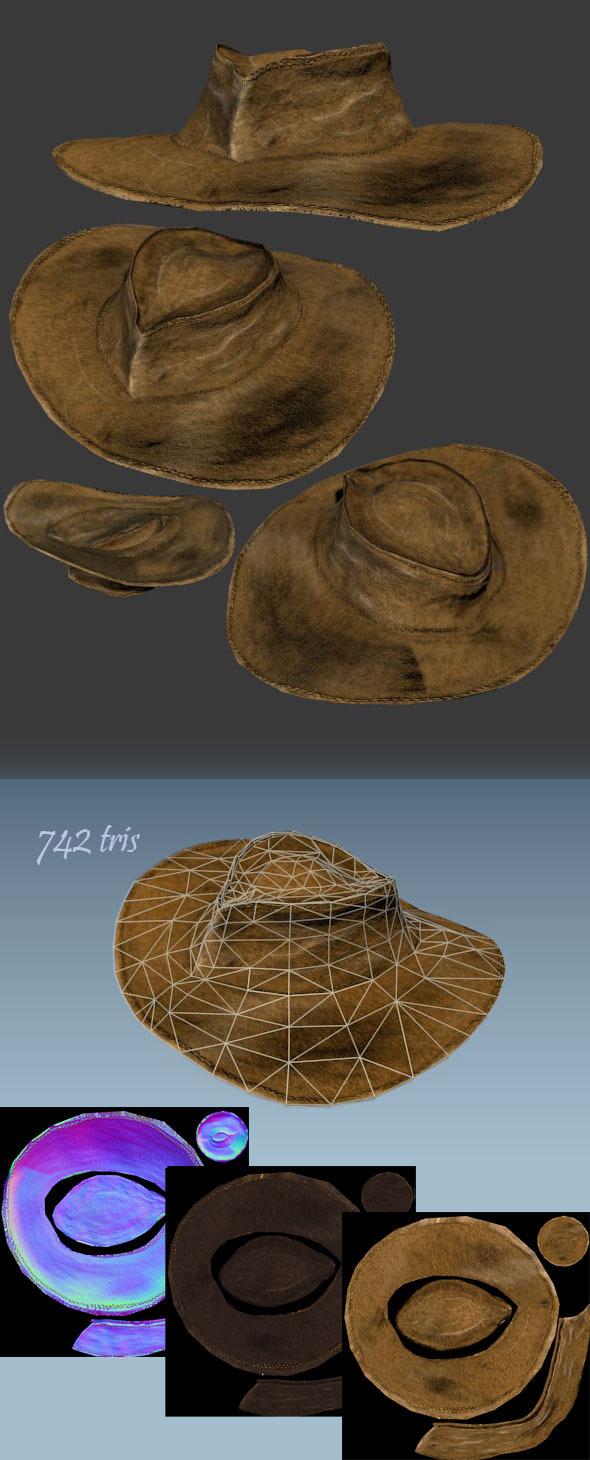 3DOcean Vintage leather hat 3862591