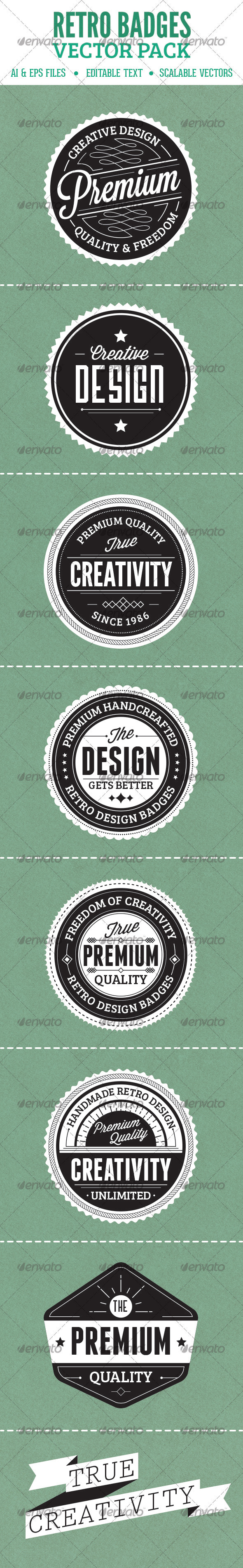 GraphicRiver Retro Badges Vector Pack 3862880