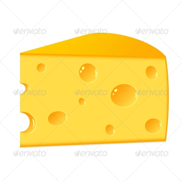 GraphicRiver A Piece of Cheese on a White Background 3863485