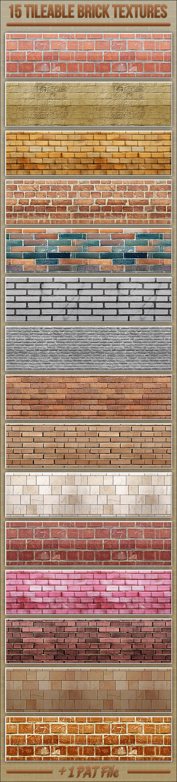 GraphicRiver 15 Tileable Brick Textures 3863960