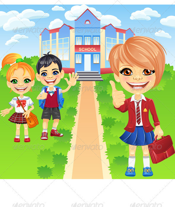 Vector Happy Smiling Schoolchildren Girls and Boy - People Characters