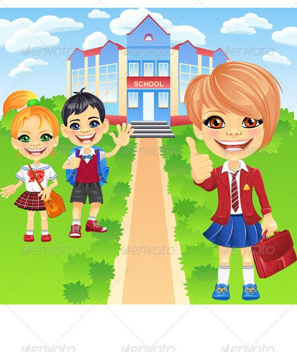 Vector Happy Smiling Schoolchildren Girls and Boy - People Characters