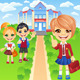 Vector Happy Smiling Schoolchildren Girls and Boy - GraphicRiver Item for Sale