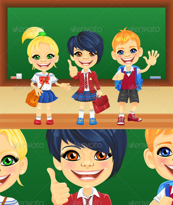 Vector Smiling Schoolchildren near Blackboard